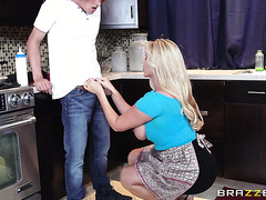 Mature housewife Karen Fisher treats her boy with special dessert