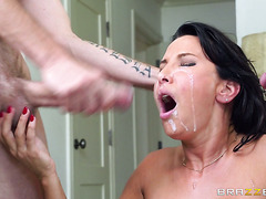 Cum craving MILF Lezley Zen attacks two hard pricks