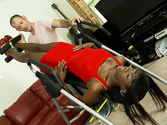 Cracker is hypnotized by furry clam of lean ebony Ana Foxxx