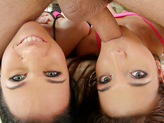 Dream girls with phat butts Denise Sky and Alexis Brill in threesome