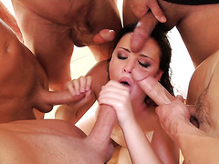 Gang of boys face fuck chubby Brooke Lee Adams and drown her in cum
