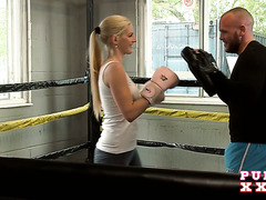 Boxing trainer pounds sweaty cunt of petite Mira Sunset in the ring