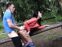 Curvy Russian sexpot Kira gets her ass eaten and shagged in forest