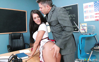 Cranky college hoe Peta Jensen works on teacher's boner