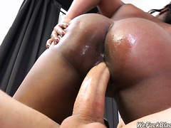 Cute black shawty Tamra Millan struggles with white monster cock