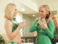 Lesbian fun in restroom on St. Patricks day with Ash Hollywood and Pristine Edge