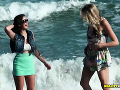 Beach walk and passionate lesbian sex with stunning Shae Summers and Brianna Oshea