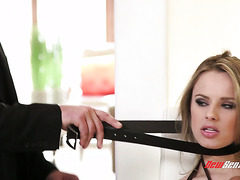 Sex slave Jillian Janson gets savagely throated by her mean dominantrix