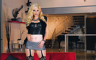 Classy blonde sexpot Charlotte Stokely stripteases and masturbates for the cam