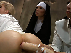 Fucked up anal lesbian orgy at the nunnery with strict prioress and hot nuns