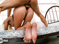 Inked boy can't stop worshiping flawless feet of Euro mom Puma Swede