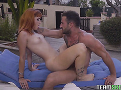 Tattooed ginger hoe Lylian Red gets fucked an fed with cum outdoors