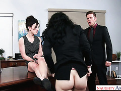 Angry boss fucks two pale secretaries Jennifer White and Noelle Easton in office