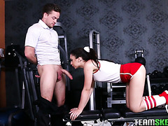 Slutty fitness girl Joseline Kelly fucks a security guy in a gym