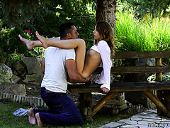 Divine Russian babe Kira Thorn has romantic sex in a quiet park