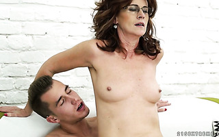 Lucky granny Mayna gets her ancient hairy pussy fucked by a handsome young guy