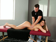 Thick chick Brooklyn Chase gets massaged and dicked by her ex husband