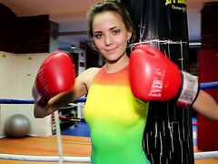 Beautiful Russian teen Clover plays with herself after boxing workout