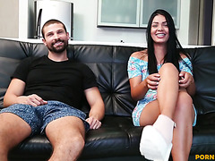 Amateur Camila Jones gets fucked by horny macho on a couch