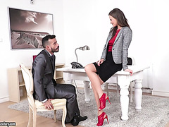 Handsome fella pays off his dept to Tina Kay by fucking her in the ass in office