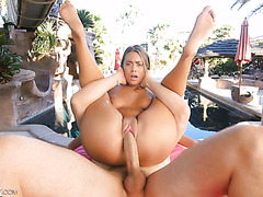 Jill Cassidy gets smashed hard by a bald dude outdoors