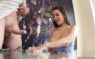 Broke ass immigrant Latina housemaid Evie Olson offers her pussy for extra cash