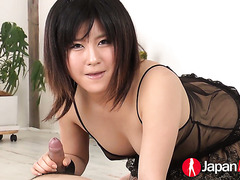 Kyoka Mizusawa sucks a dick in transparent negligee and fishnets