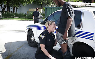 Two thick police chicks fuck a black fella who fucked neighbor's wife