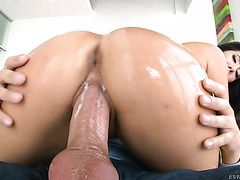 Big ass Asian girl Eva Lovia gets oiled and fucked hard by fat cock