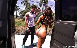 Amazingly hot and horny Kelsi Monroe fucks random guy in a van