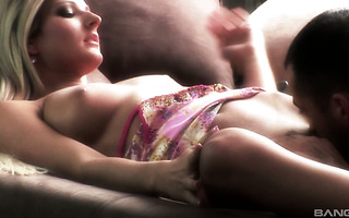 Erotic blonde babe Vanessa makes passionate love with her man on a couch