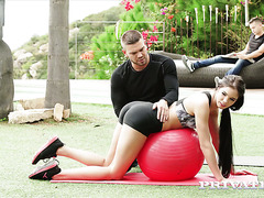 Fitness workout with Lovenia Lux ends with hot DP fuck