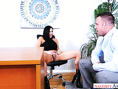 Audrey Bitoni and her colleague end a brainstorming with hot sex in office