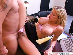Secretary helps her boss to reduce stress using her huge boobs and pussy