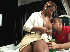Lush ebony tranny Bianca E fucks her hunky student in the ass