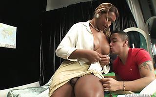 Lush ebony tranny Bianca E fucks her hunky student in the ass