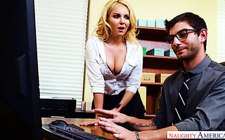 Aaliyah Love fucks an IT guy at work to keep her browser history in secret