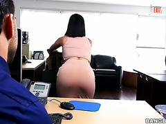 Kitty Caprice works her mouth and pussy on boss's cock to keep the job