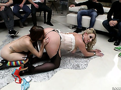 Victoria Summers and Rebecca Volpetti get banged in all holes by a crowd