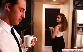 Cassidy Klein presents panties to her colleague and fucks him at work