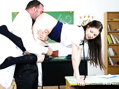Naughty Rebecca Volpetti gets ass fucked during a boring lesson