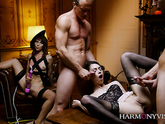 Ariel Rebel rewards two servants with sexy Russian slut Arwen Gold