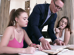 Nerdy tutor fucks two slutty Russian college chicks Shakila Asti & Sofy Torn