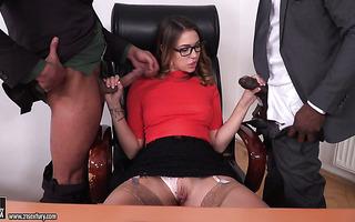 Ani Black Fox fucks her bosses to avoid dismissal from work for masturbating