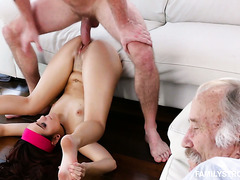 Fucking my naughty stepsis Brooke Haze next to sleeping dad