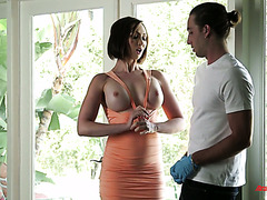 Yasmin Scott seduces her handsome stepson with her big juicy tits