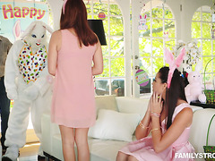 Avi Love is getting fucked by a bunny mascot while taking pics with parents