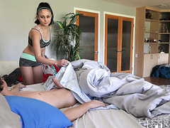 Ariana Marie wakes her stepbro with a blowjob and then rides his thick cock