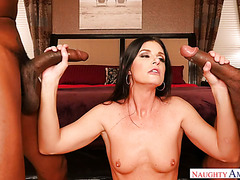 Experienced India Summer handles two big black cocks like a boss