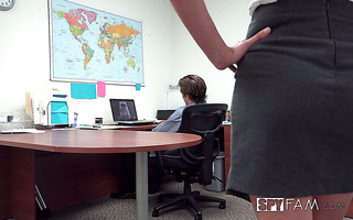 Horny Cory Chase found her stepson jacking off in the office and let him fuck her